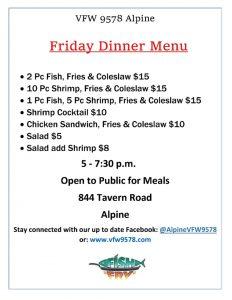 Fish Fry at VFW @ VFW 9578 Alpine