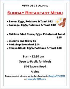 Sunday Breakfast at VFW @ VFW 9578 Alpine